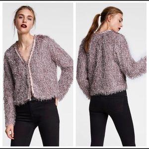 Zara Eyelash Fringed Cropped Jacket EUC Small